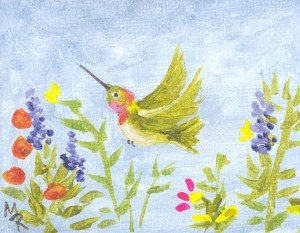 Anna's Miinature Acrylic hummer painting REV
